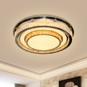 LED Ceiling Flush Light Modern Tiered Round Inlaid Crystal Flushmount Lighting in Nickel