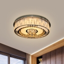 Modern Style Drum Flush Mount Light Clear Crystal LED Ceiling Lighting in Stainless Steel