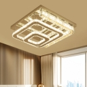 Modern LED Semi Mount Lighting with Clear Crystal Glass Shade Stainless-Steel Square Close to Ceiling Light