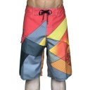 Men's Summer Unique Colorblock Drawstring Waist Quick Drying Surfing Swim Trunks