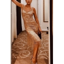 Sparkly Womens Sequin Embellished Tassel Scoop Neck Sleeveless Midi Sheath Gown in Gold