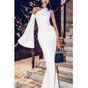 White Elegant Womens Plain One Shoulder Single Bell Sleeve Floor Length Sheath Gown Party Dress