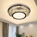 2-Layer Wavy K9 Crystal Flush Light Modern Dining Room LED Close to Ceiling Lighting in Chrome