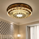 Crystal-Encrusted Chrome Flush Light Circular Modernism LED Close to Ceiling Lamp