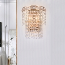 Double-Layered Wall Lighting Contemporary Faceted Crystal 2-Bulb Staircase Wall Mount Light Fixture in Gold