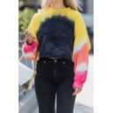 Stylish Tie Dye Printed Long Sleeve Crew Neck Relaxed Fit Cropped T Shirt for Women