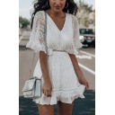 Boutique White Applique Sheer Lace Ruffled Bell Short Sleeve V-neck Mini A-line Dress for Women