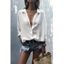 Basic Ladies Chiffon Plain Roll up Sleeve Spread Collar Button-up Loose Fit Shirt Top