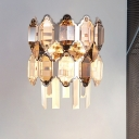 2 Bulbs Half-Cylinder Flush Wall Sconce Modernist Clear Crystal Wall Mount Light