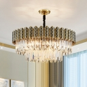 Crystal Prism 3 Layers Suspension Pendant Modern 9 Lights Black and Gold Chandelier Lighting Fixture
