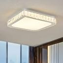 LED Square Ceiling Light Fixture Modern Hand-Cut Crystal White Flushmount Lighting, 16