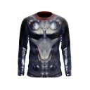 Creative Anime Cosplay Long Sleeve Crew Neck Geometric 3D Printed Slim Fit T-shirt in Gray