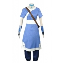 Anime Cosplay Costume Contrasted Short Sleeve Crew Neck Mid A-line Dress & Pants Blue Set with Gloves