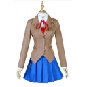 Girls Khaki Long Sleeve Notched Collar Button-up Fit Blazer & Mini A-line Pleated Skirt Unique Set