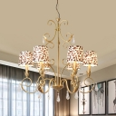 Traditional Candelabra Pendant Chandelier 6/8/10 Lights Metallic Hanging Lamp Kit in Gold with Leopard Print Fabric Shade
