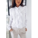 Elegant Ladies Solid Color Single Breasted Ruffle Trim Stand Neck Long Sleeve Relaxed Shirt