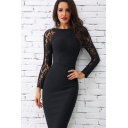 Women's Black Sexy Lace-Insert Long Sleeve Plain Midi Pencil Dress