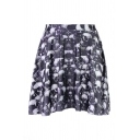 Skulls Print Elastic Waist Mini Flared Skirt