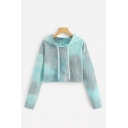 New Trendy Womens Green Hollow Out Long Sleeve Tie Dye Cropped Hoodie