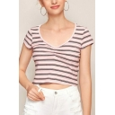 Chic Stripe Printed Short Sleeve V-neck Ruched Slim Fit Cropped Tee Top in Pink