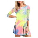 Creative Tie Dye 3/4 Sleeve Round Neck Ruched Tunic Curved Hem Relaxed Fit Dress for Girls
