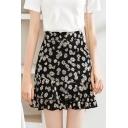 Pretty Girls Daisy Floral Printed High Rise Ruffled Mini A-line Skirt in Black