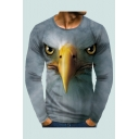 Cool Mens Tee Top Eagle Head 3D Pattern Round Neck Long Sleeve Regular Fitted Tee Top