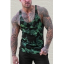 Chic Mens Tank Top Camouflage Sleeveless Scoop Neck Slim Fitted Tank Top