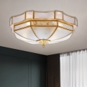 Brass Domed Flushmount Lighting Colonial Frosted Glass 2-Bulb Bedroom Flush Mount Light Fixture