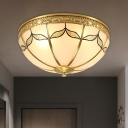 Domed Frosted Glass Flush Light Colonial 3/4 Bulbs Bedroom Flush Mount Fixture in Brass, 14