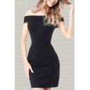 Boutique Solid Color Off the Shoulder Short Bodycon Dress for Women