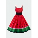 Glamorous Ladies Red Watermelon Print Patchwork Waist Pleated Sleeveless Spaghetti Strap Short Swing Cami Dress