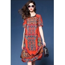 Tribal Style Ladies Floral Printed Short Sleeve Round Neck Mid Shift Dress in Red