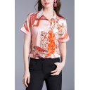 Phoenix Printed Short Sleeve Spread Collar Button-up Regular Fit Popular Shirt for Women