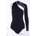 Sexy Ladies Solid Color Single Sleeve Halter Asymmetric Slim Fitted Bodysuit in Black