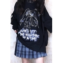 Gothic Womens Comic Figure Graphic 3/4 Sleeve Crew Neck Oversize T Shirt in Black