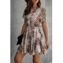 Trendy Womens Snakeskin Print Pleated Drawstring Button Down Stand Neck Short Sleeve Short A-Line Dress