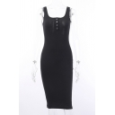 Trendy Girls Solid Color Sleeveless Scoop Neck Mid Bodycon Tank Dress in Black