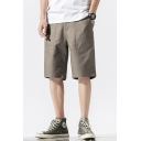Chic Mens Shorts Colorblock Pocket Zipper up Mid Rise Fitted Shorts