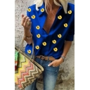 Fashionable Ladies Allover Sunflower Printed Half Sleeve Point Collar Loose Fit Shirt Top