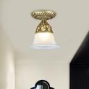 Classic Bell Flush Mount Lighting 1-Head Opaque Glass Ceiling Light Fixture in Bronze