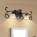 2/3 Bulbs 0pal Glass Wall Lamp Fixture Vintage Red Brown Cone Bathroom Vanity Mirror Light