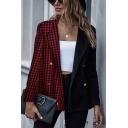 Chic Womens Patchwork Double Breasted Lapel Collar Long Sleeve Oversized Tunic Blazer Coat