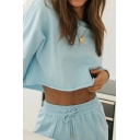 Popular Solid Color Long Sleeve Crew Neck Relaxed Crop T Shirt & Drawstring Waist Cuffed Fit Sweatpants Set for Ladies