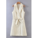 Novelty Ladies White Plain Fake Flap Pockets Bow Tie Belt Sleeveless Lapel Collar Midi Wrap Vest Dress