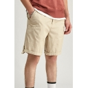 Mens Relax Shorts Casual Plain Knee-Length Regular Fitted Zipper Fly Relax Shorts