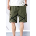 Novelty Mens Cargo Shorts Tape Decoration Flap Pockets Knee-Length Regular Fitted Drawstring Waist Cargo Shorts