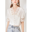 Chic Womens Hollow Out Lace Trim Single Breasted V Neck Short Puff Sleeve  Fitted Crop Blouse Top in White