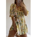 Popular Womens All Over Floral Printed Puff Sleeve Sweetheart Neck Pintuck Short A-line Dress in Yellow