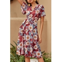 Red Pretty Womens Flower Print Bow Tie Waist Surplice Neck Short Sleeve Midi A-Line Wrap Dress